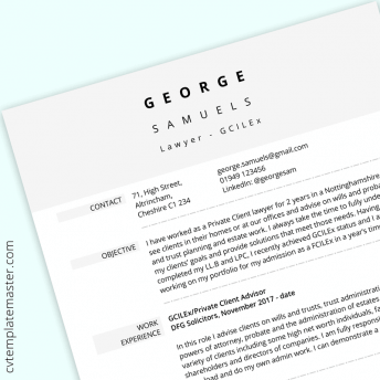Law CV example: smart template in MS Word format