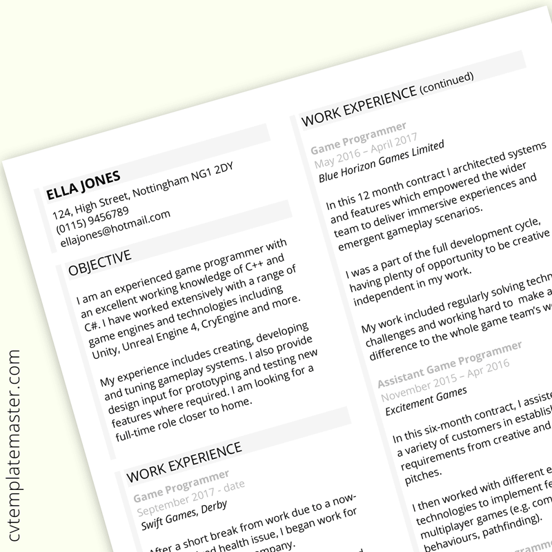 Free Resume Microsoft Word Template from www.cvtemplatemaster.com