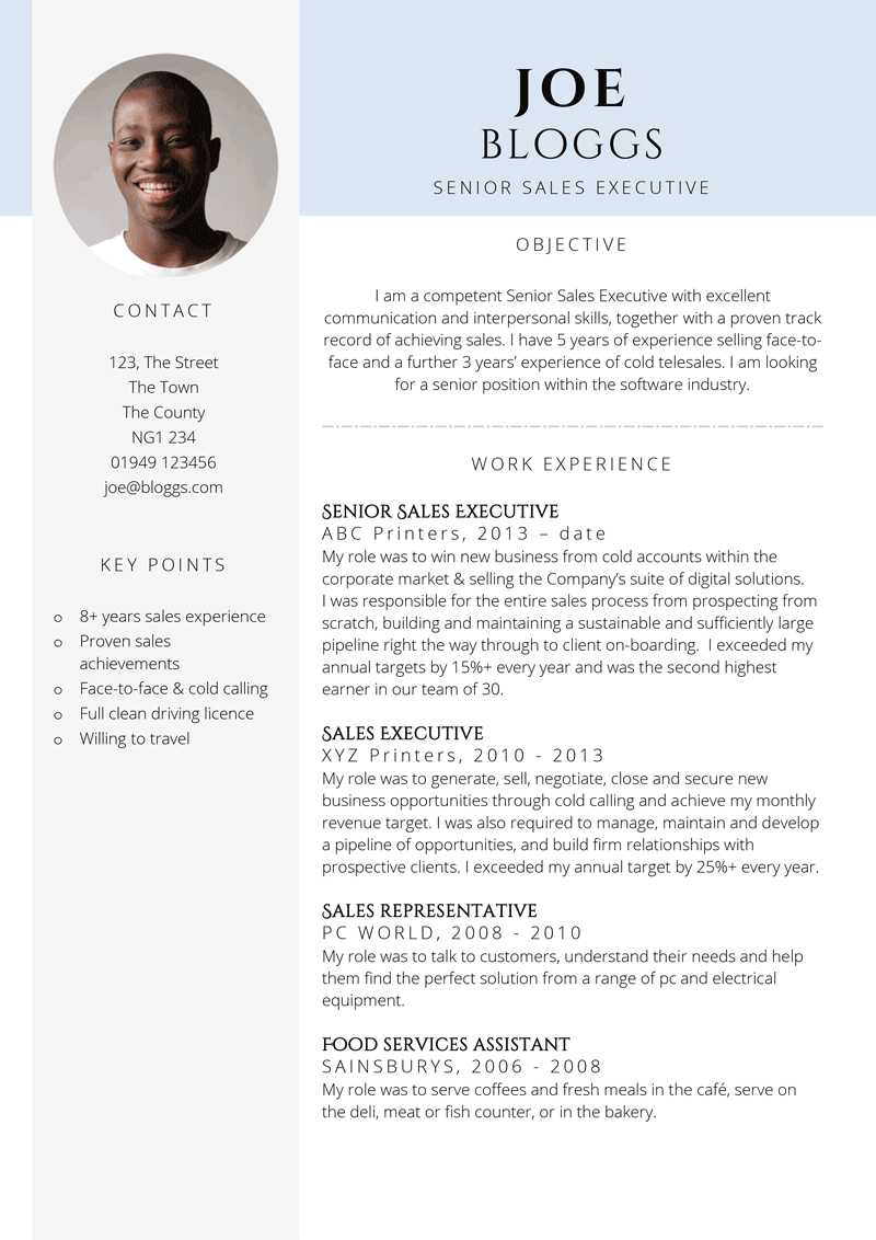 Sales executive CV - page one