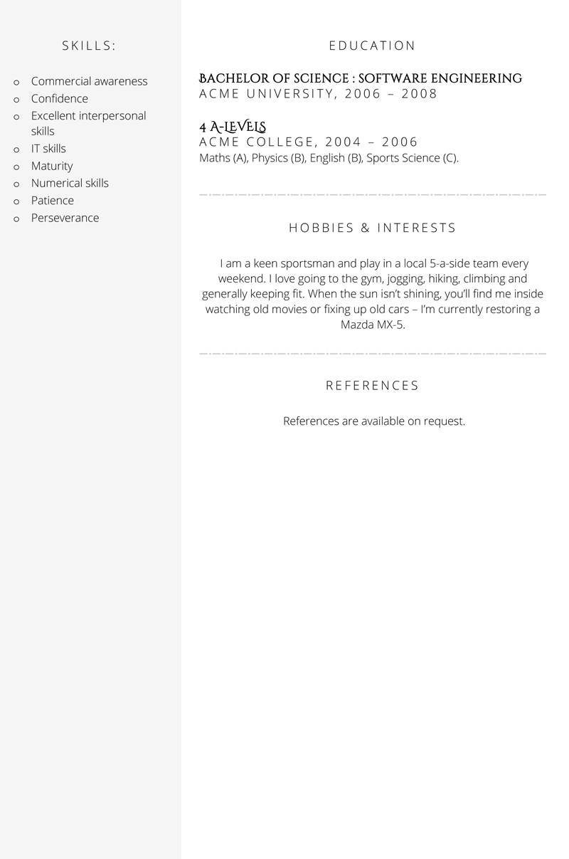 Sales executive CV template - page two
