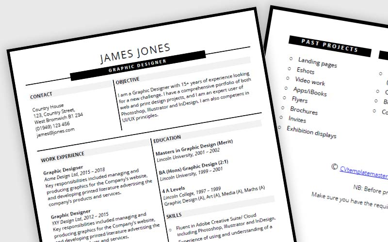 Slick headers CV template