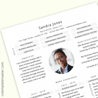 Business Analyst CV example (Free download) : 'Meet me' design in Word