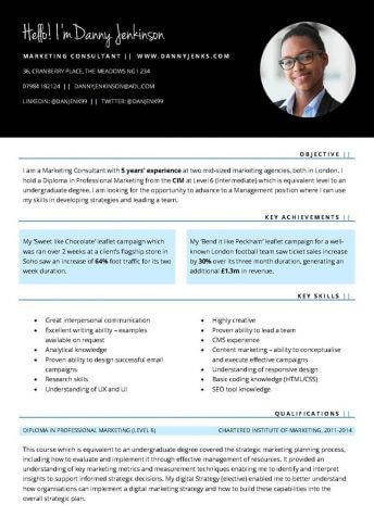Free 'Connect' Marketing CV template (skills and achievements focus)