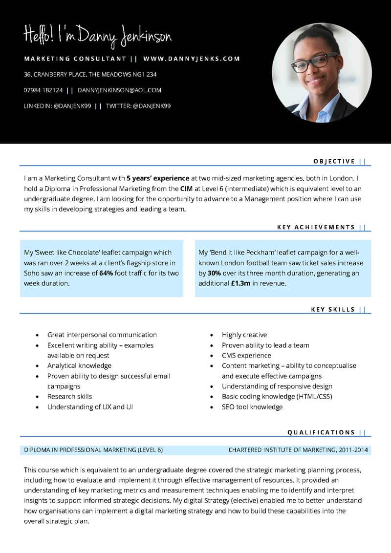 Connect free professional CV template