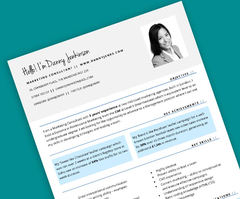 Connect CV template with light grey header