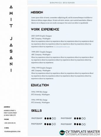 Free Elite Microsoft Word CV template (alternative version)