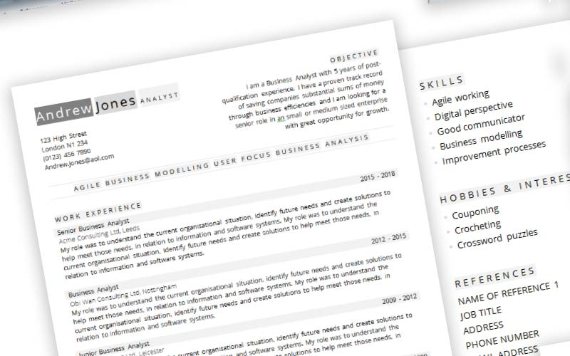 Business Analyst template CV