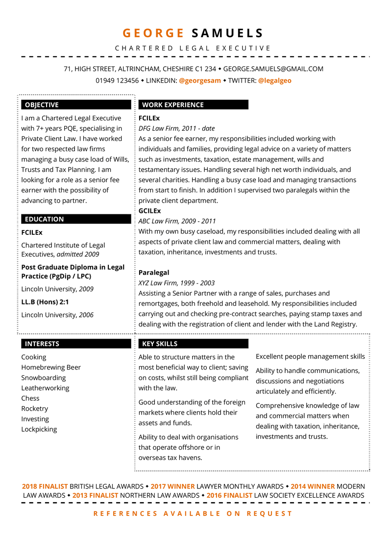 Legal CV template - full preview