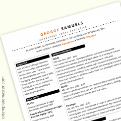 Legal CV with Sections – free Word CV template (work experience focused)