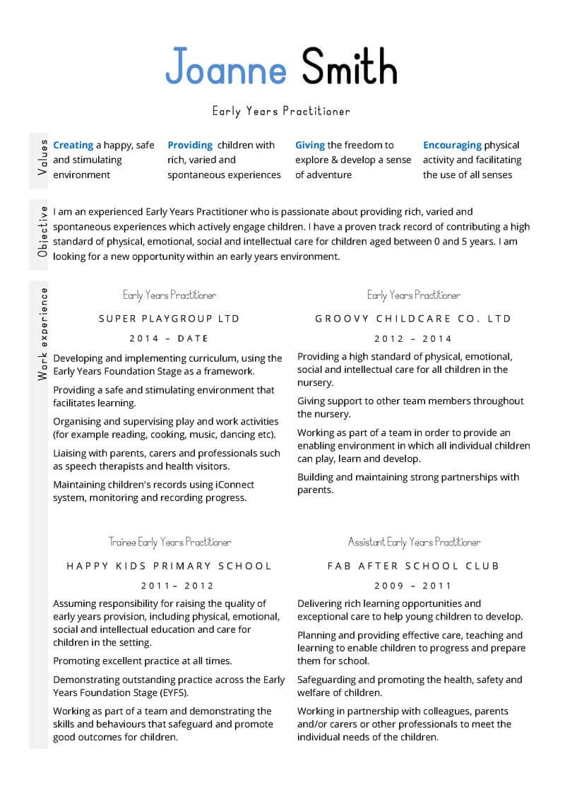 Education and early years CV template