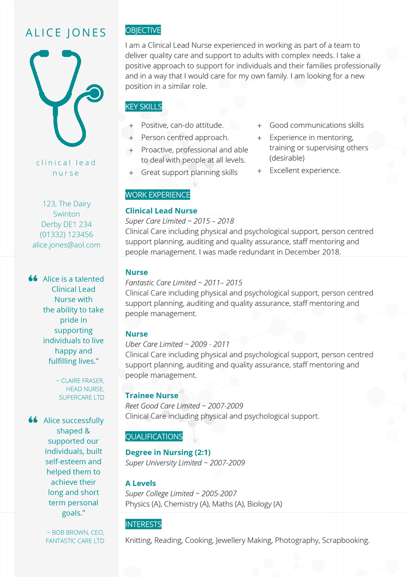 Medical CV template preview