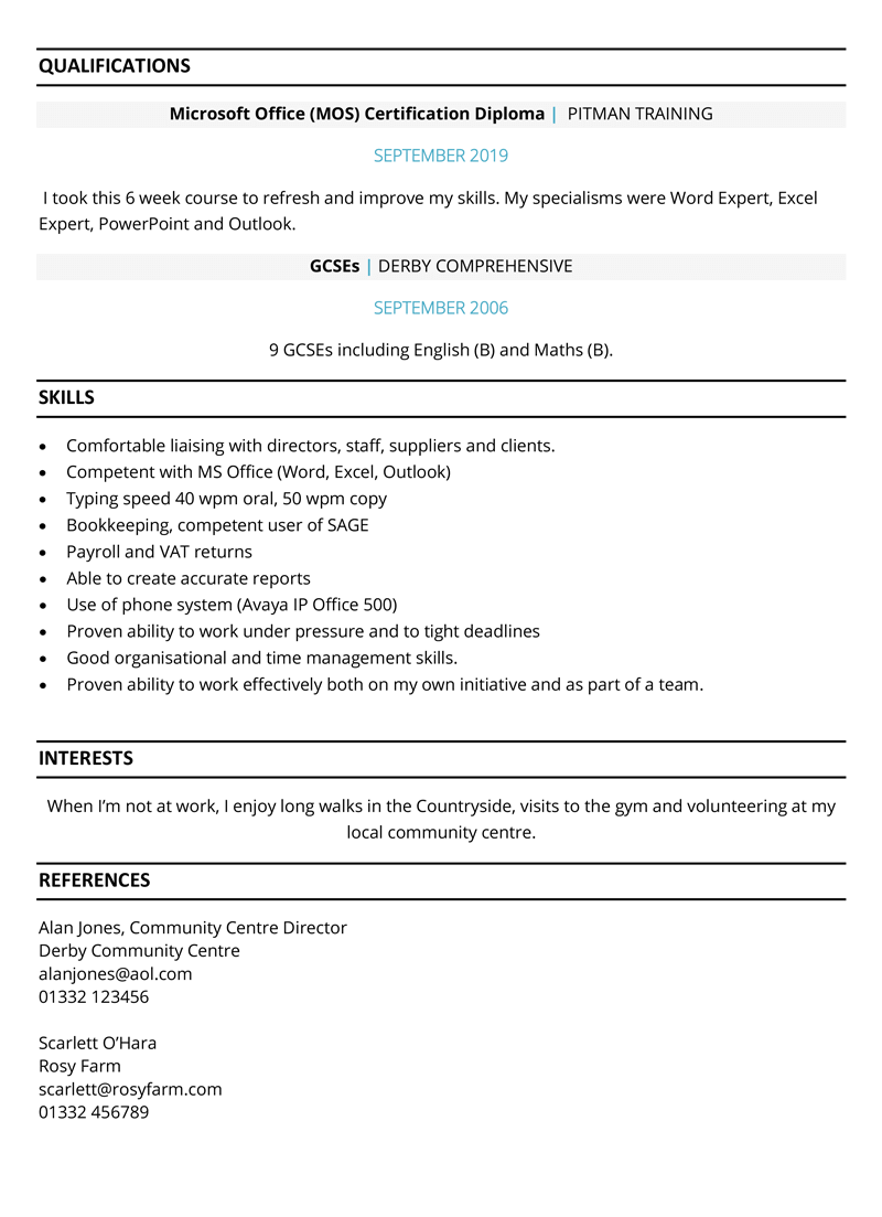 Mum returning to work CV example - page two
