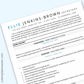 Mum returning to work CV example : free one-page CV template in Word