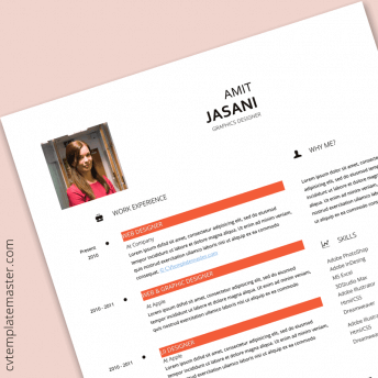 Peach marble free Word CV template (alternative version)