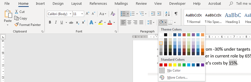 Shading in MS Word