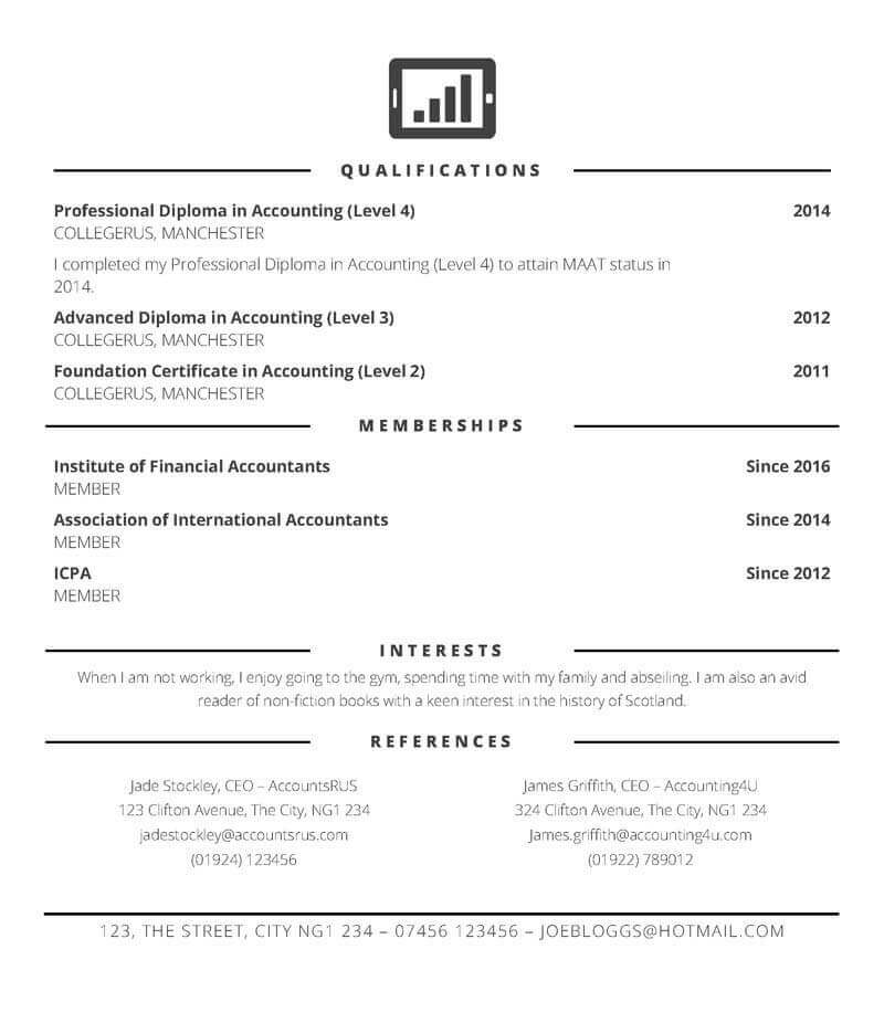 Accountant CV template - page 2