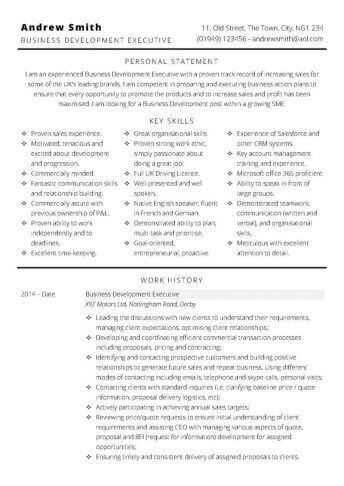 Free Business Development CV template in MS Word