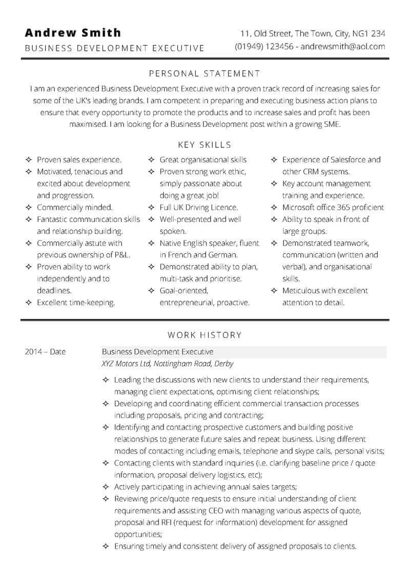 Functional skills based CV format - page one