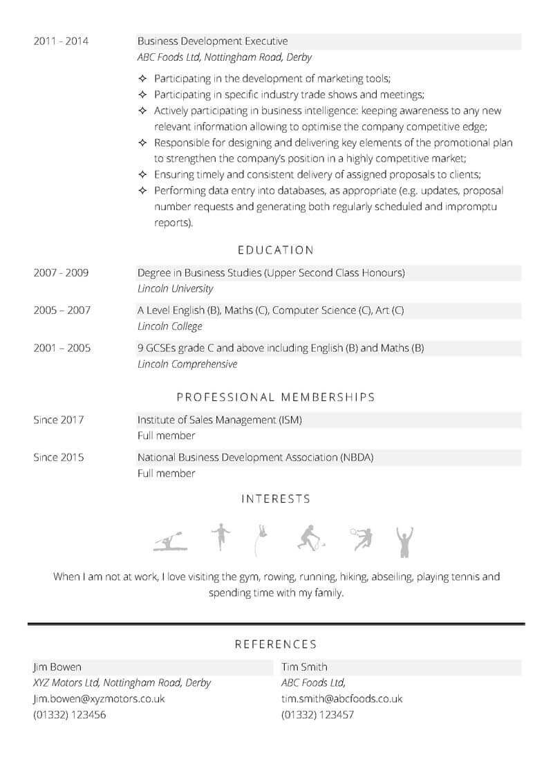 Business development CV template - page 2