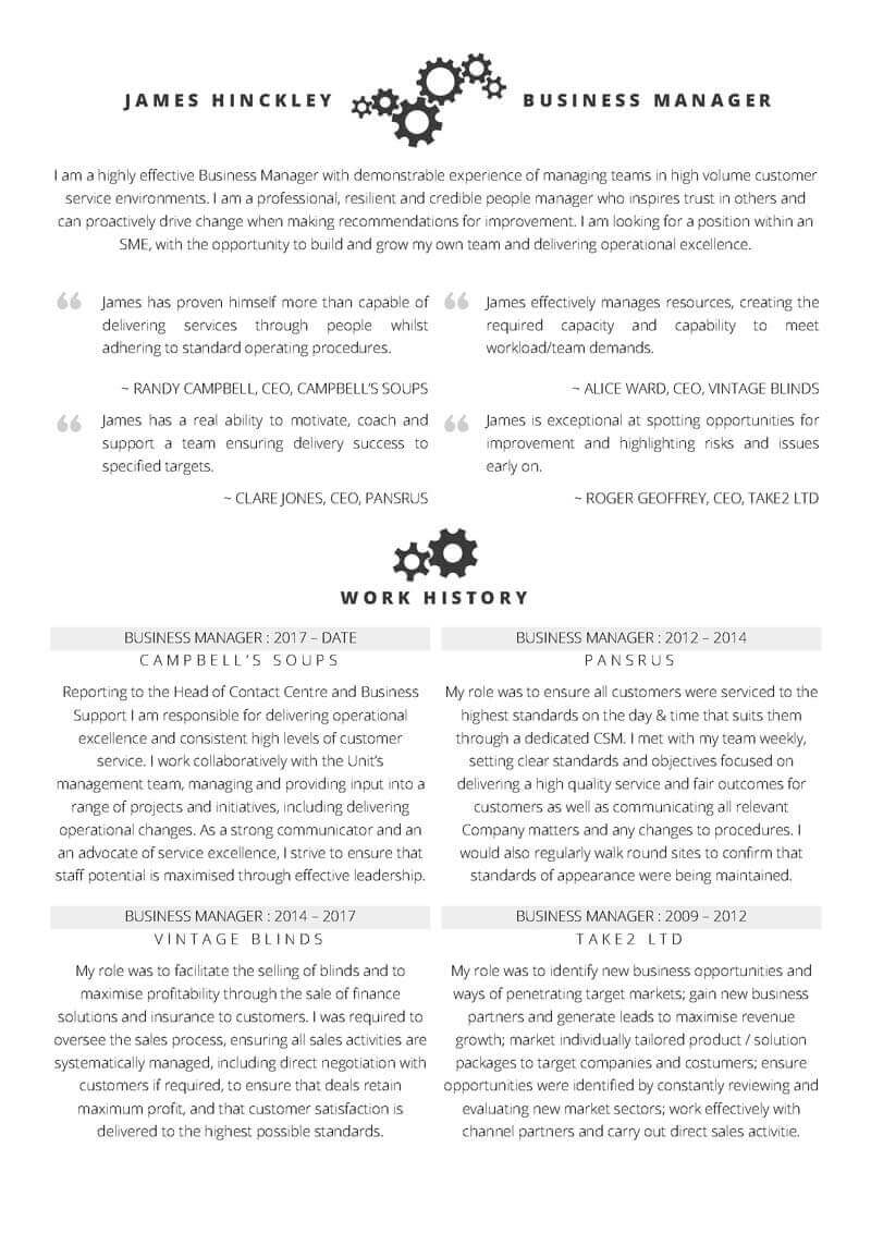 free word cv template with example details for a business manager