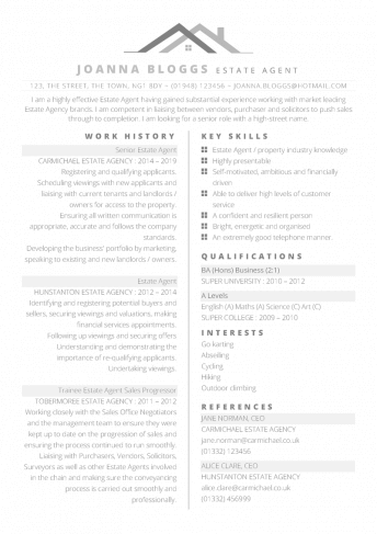 Estate Agent CV – free professional property themed CV template in Word