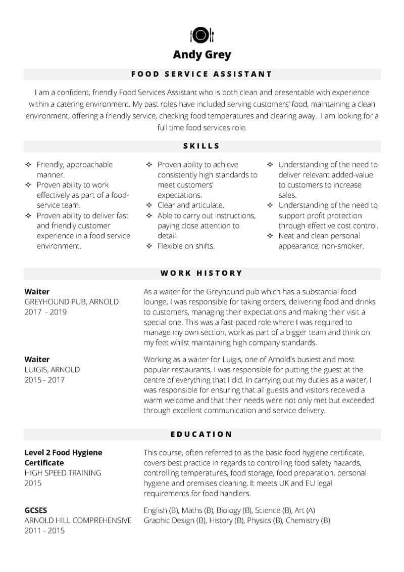 Free Food Services Assistant Word CV template