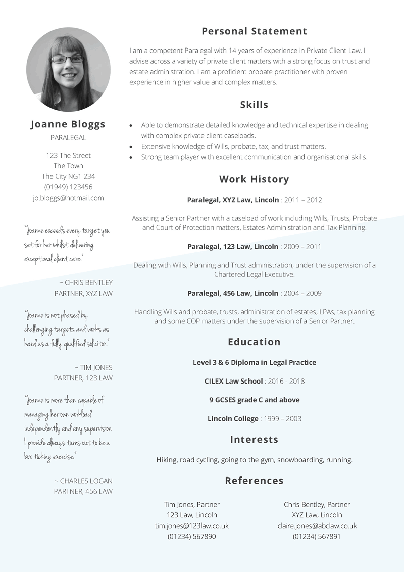 Free Paralegal CV template in Word