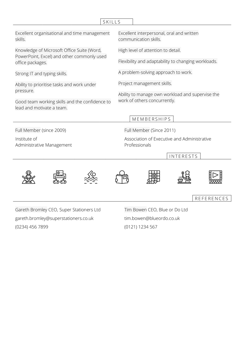Office manager CV template - page 2