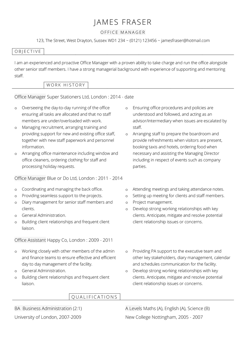 Office Manager CV template - page one