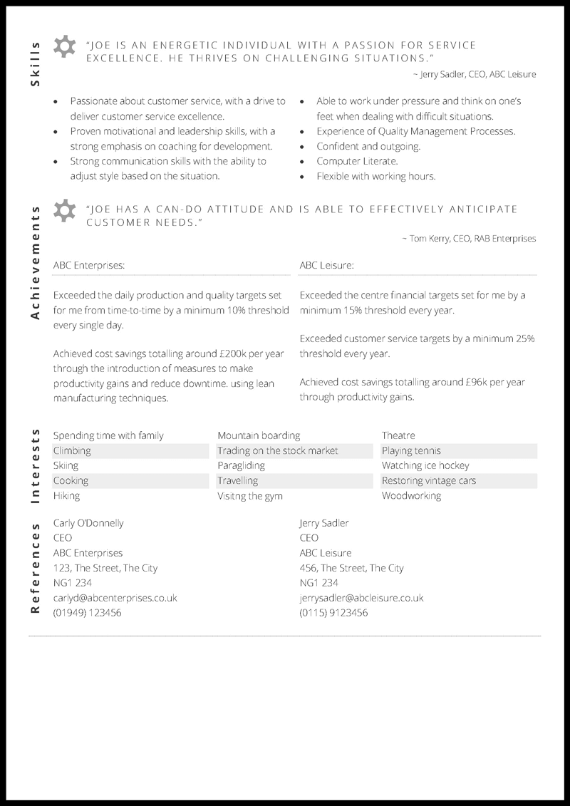 Operations Manager CV layout - page 2