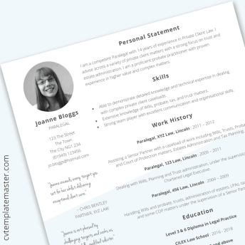 Paralegal CV template in Word (free download)