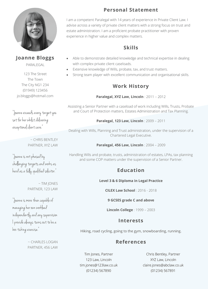 Paralegal CV template - preview