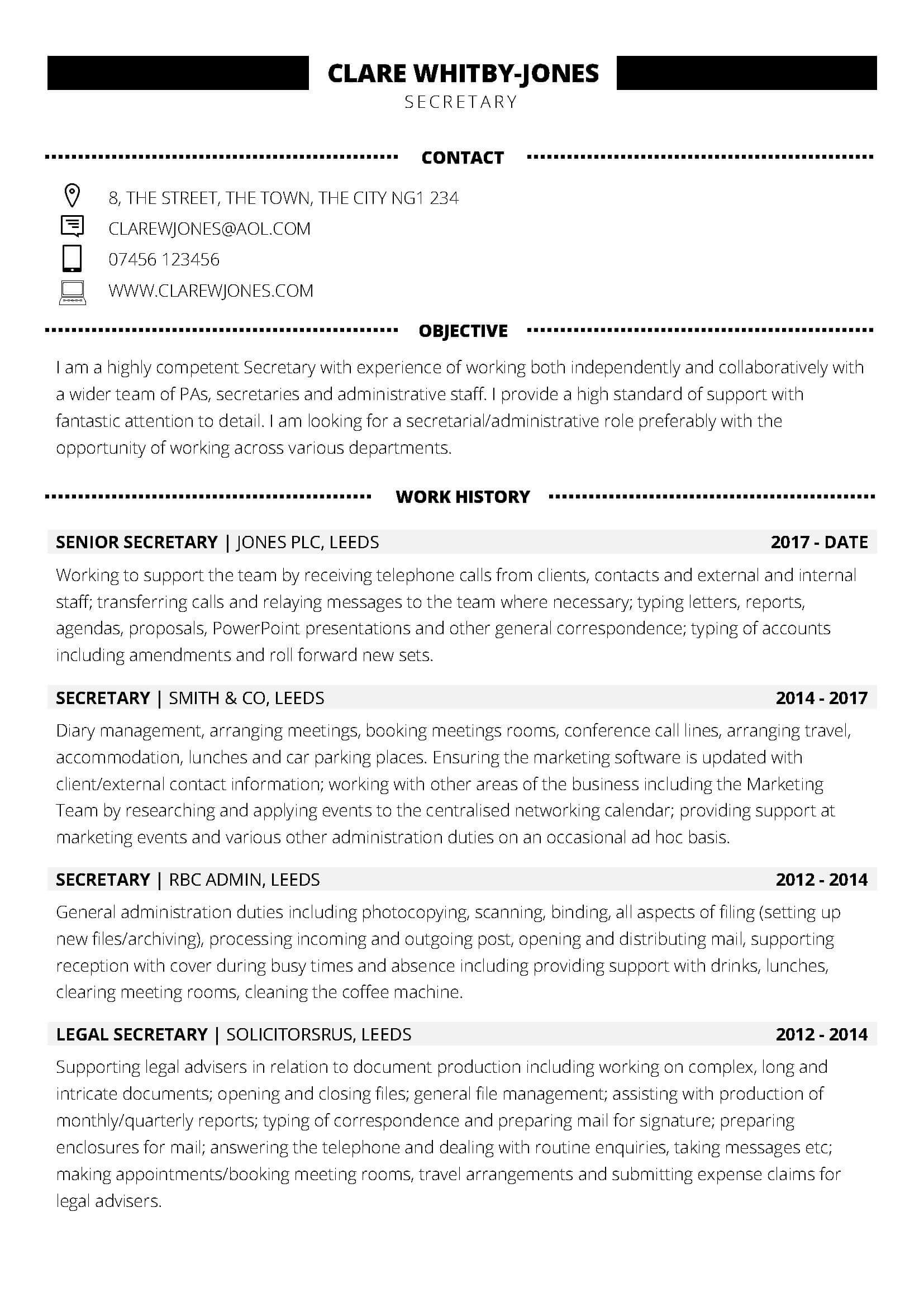 free secretary word cv template  2019