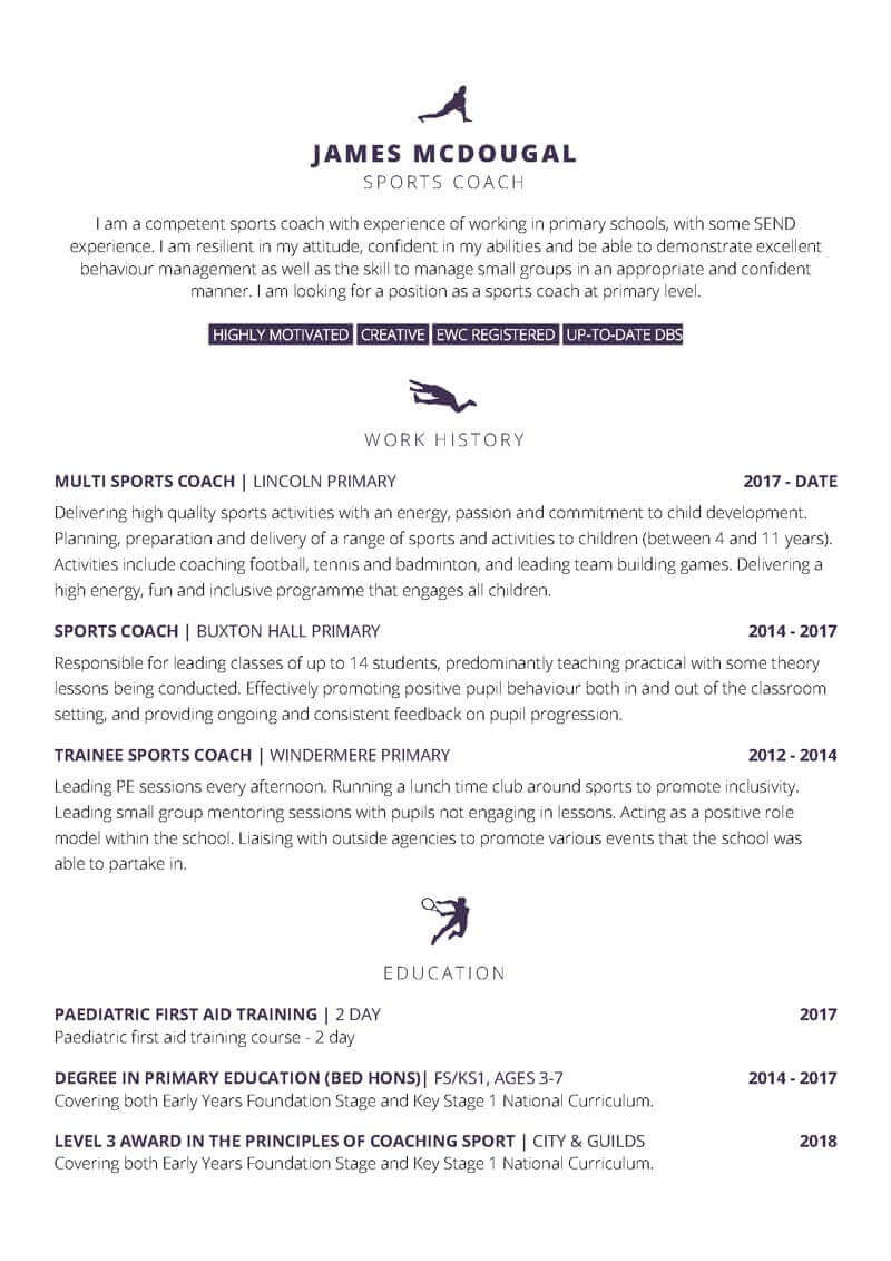 Spoets themed free Word Cv template - page one