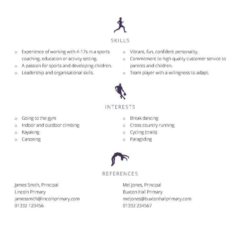 Free Sporty themed CV template - page two