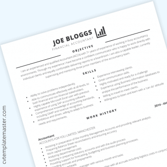 Accountant CV example: free accounts-themed CV template in Microsoft Word format