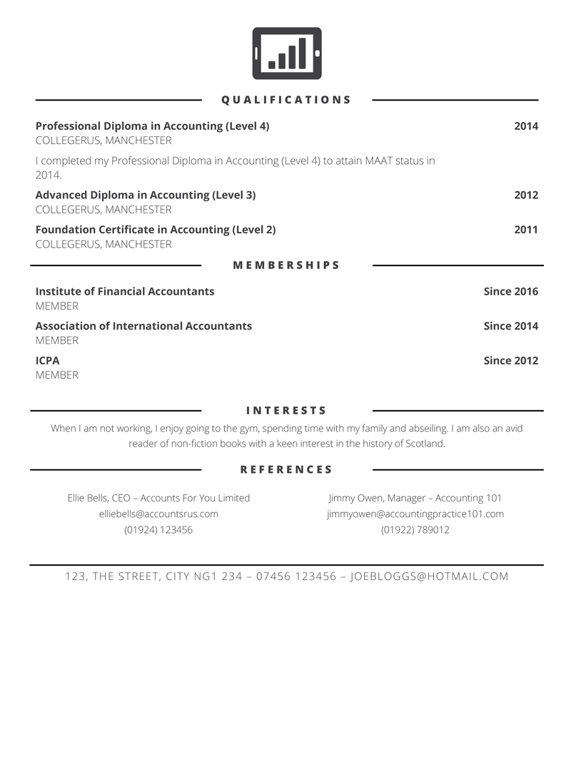 Accountant CV example - page 2 preview