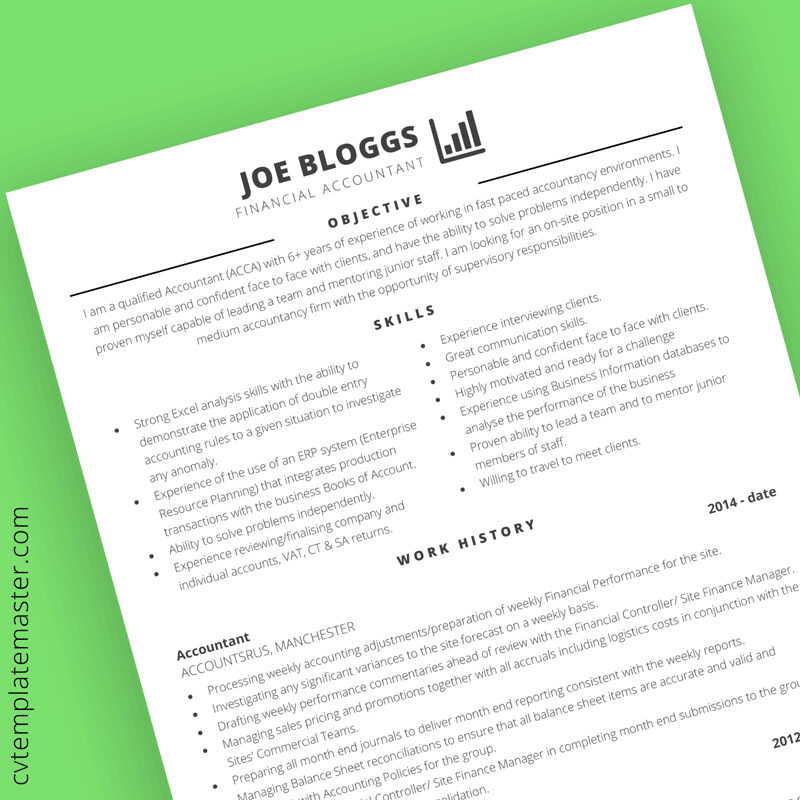 Accountancy CV template