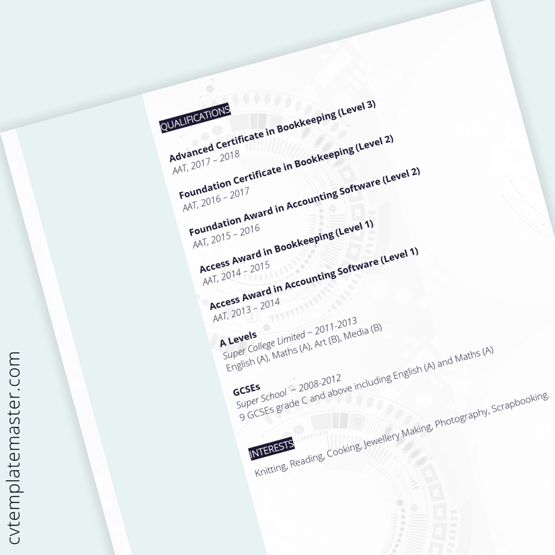 Admin assistant CV template - page 2