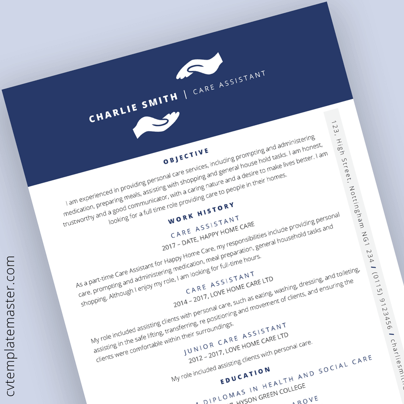 Free Care Assistant CV template