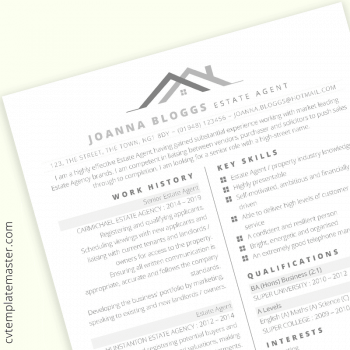 Estate agent CV template preview