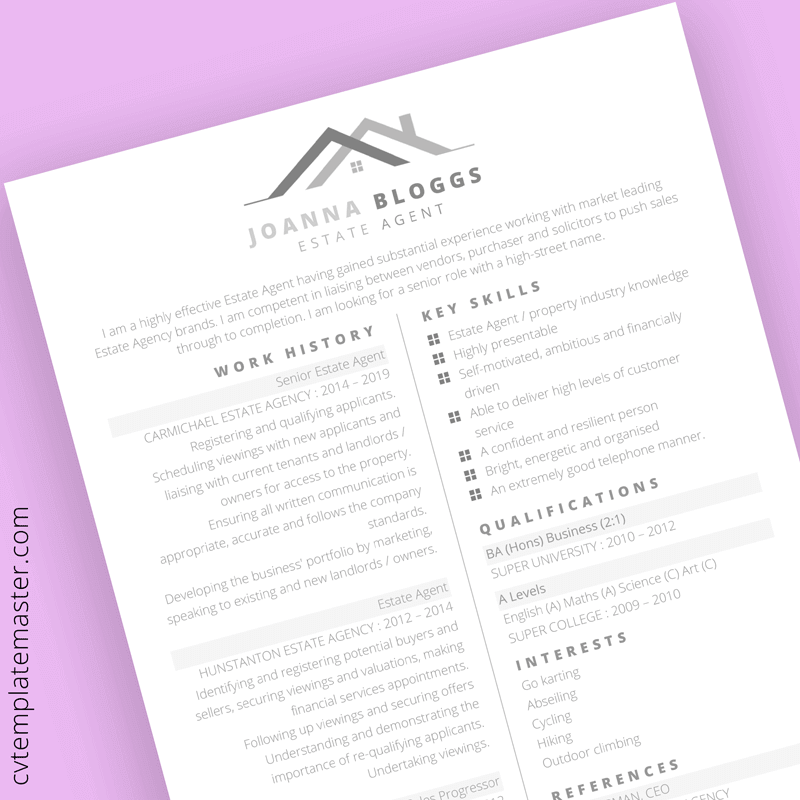 Estate agent CV template