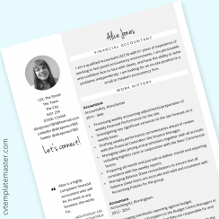 Finance CV template (accounts and finance example content) : free, Word format