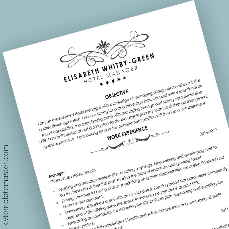 Hospitality CV template