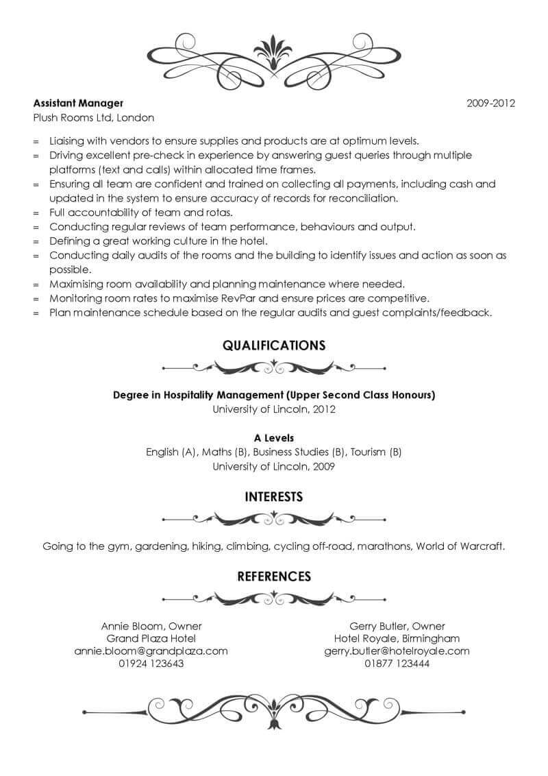 Free Hospitality CV template in Microsoft Word - CV Template Master