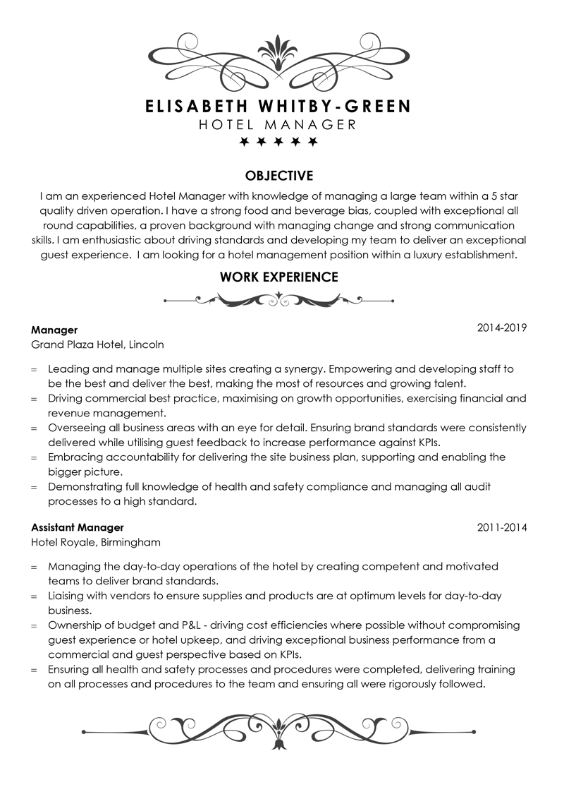 Hotel manager CV example - template page one
