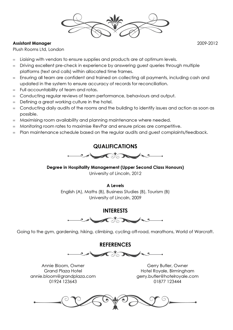 Hotel manager CV example - template page two