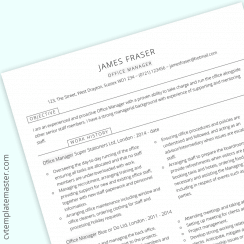 Office manager CV template in Microsoft Word (free)