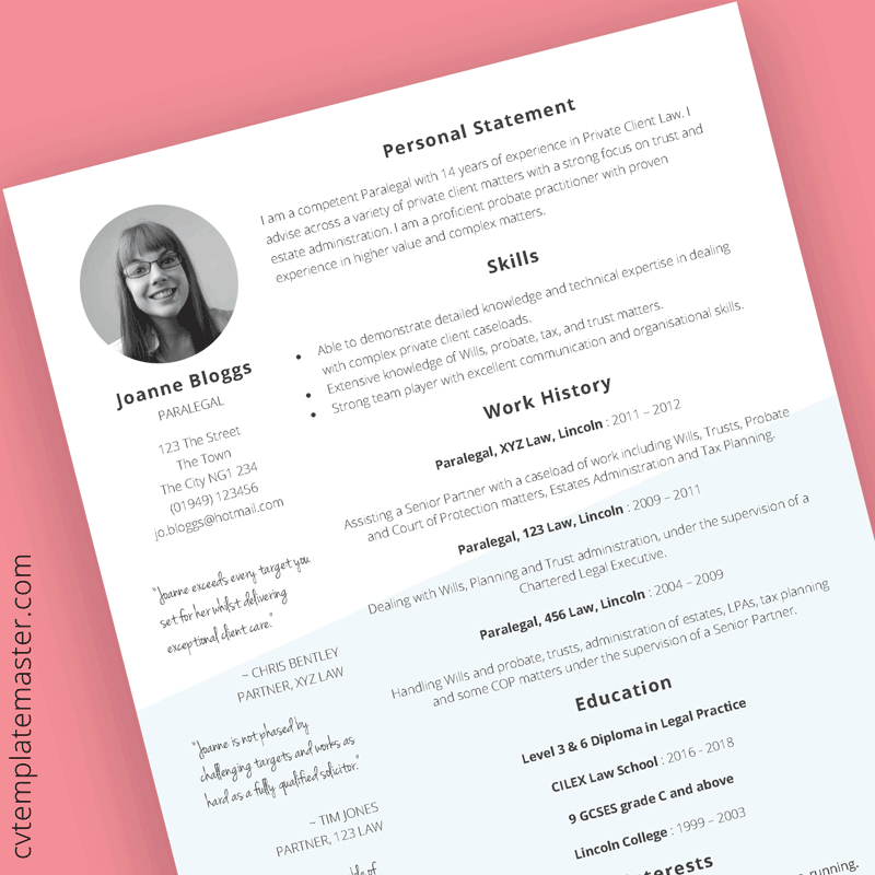Free Paralegal CV template