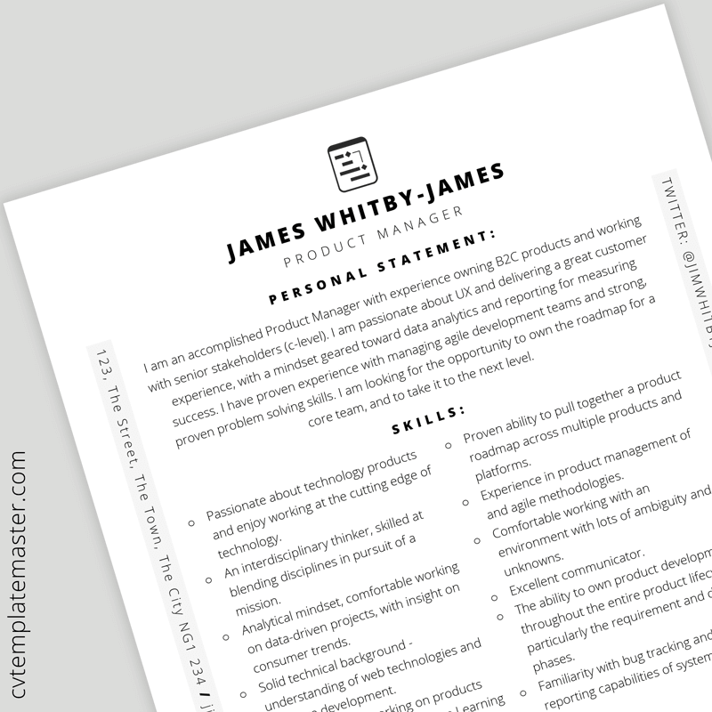 Product manager CV template